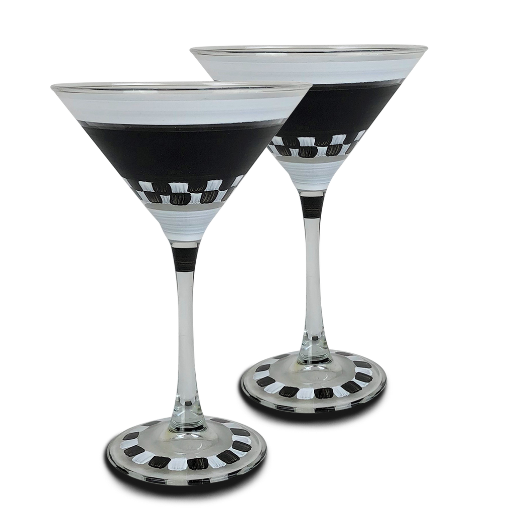Black & White Checkered Martini S/2 - Golden Hill Studio