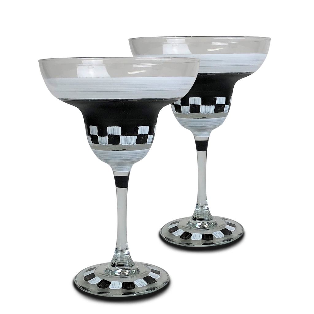 Black & White Checkered Margarita S/2 - Golden Hill Studio