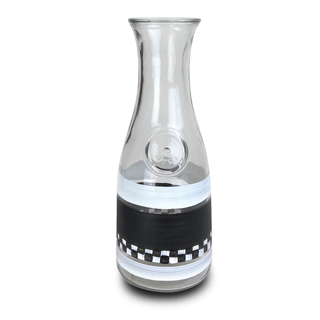 Black & White Checkered Carafe - Golden Hill Studio