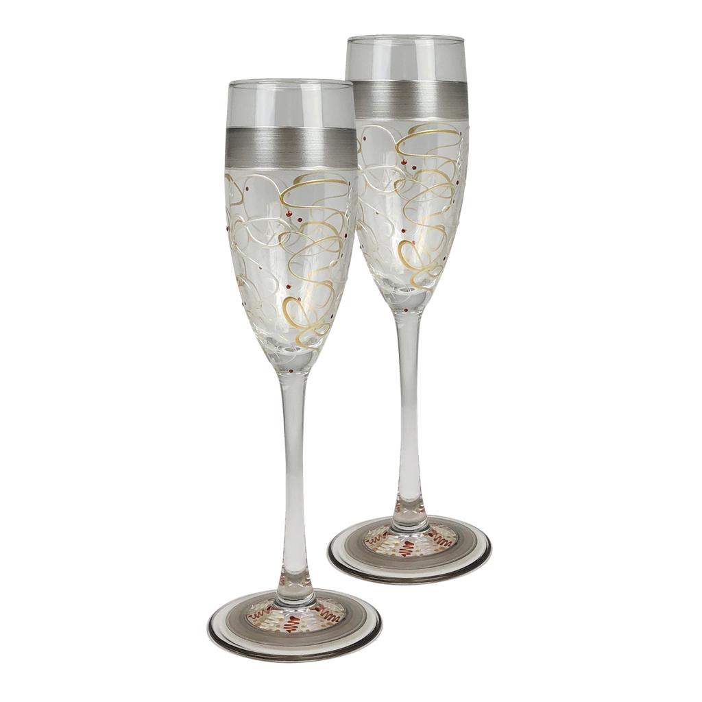 Celebration Streamers Champagne   Set of 2 - Golden Hill Studio