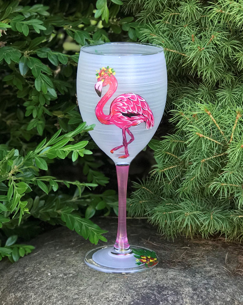 Flamingo Fun Wine S/2 - Golden Hill Studio