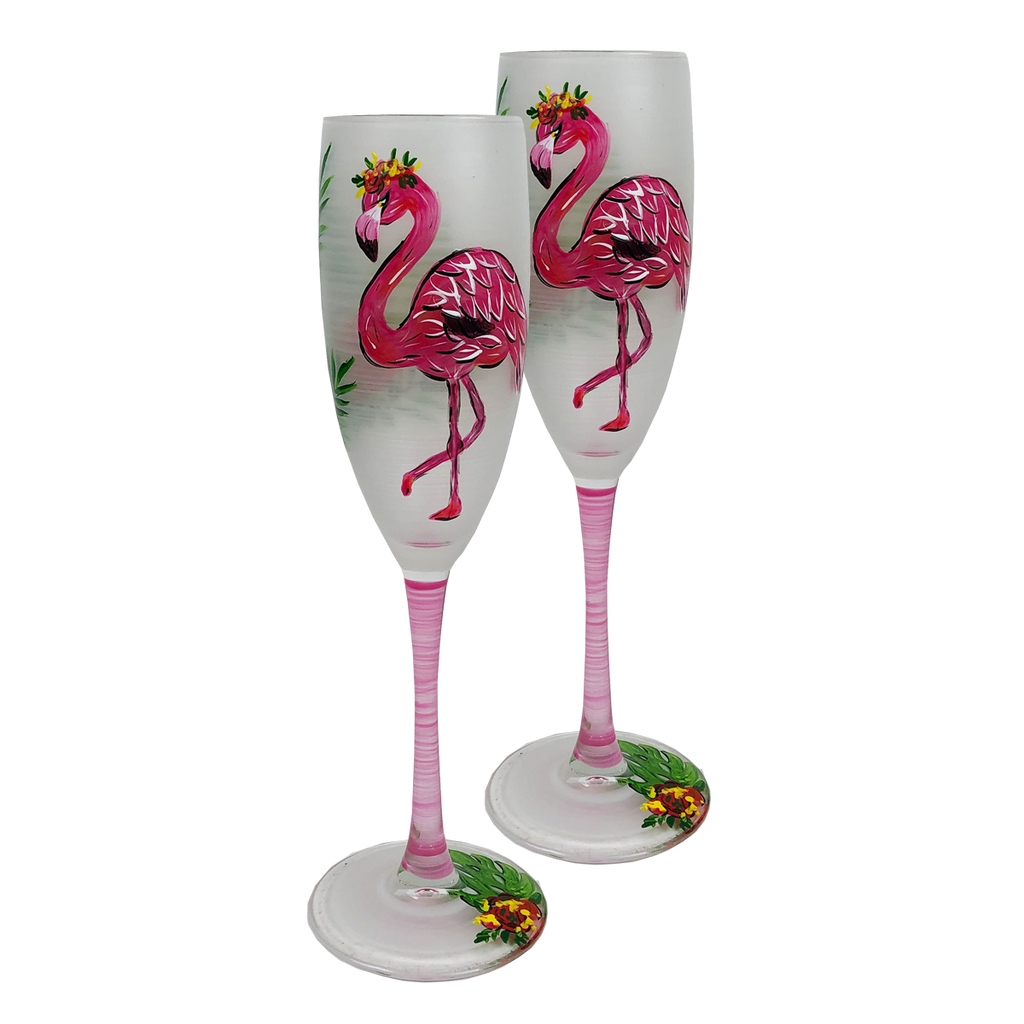 Flamingo Fun Champagne S/2 - Golden Hill Studio