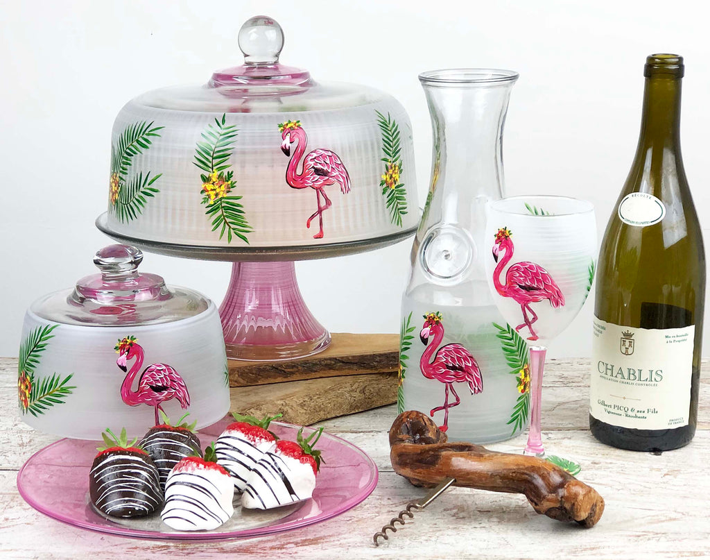 Flamingo Fun Carafe - Golden Hill Studio