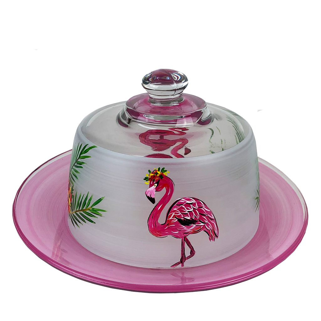 Flamingo Fun Cheese Dome - Golden Hill Studio