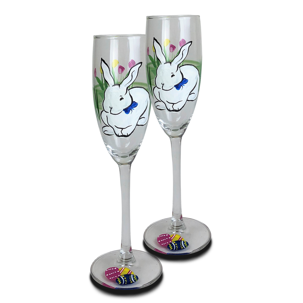 Springtime Bunny and Tulips Champagne Glass S/2
