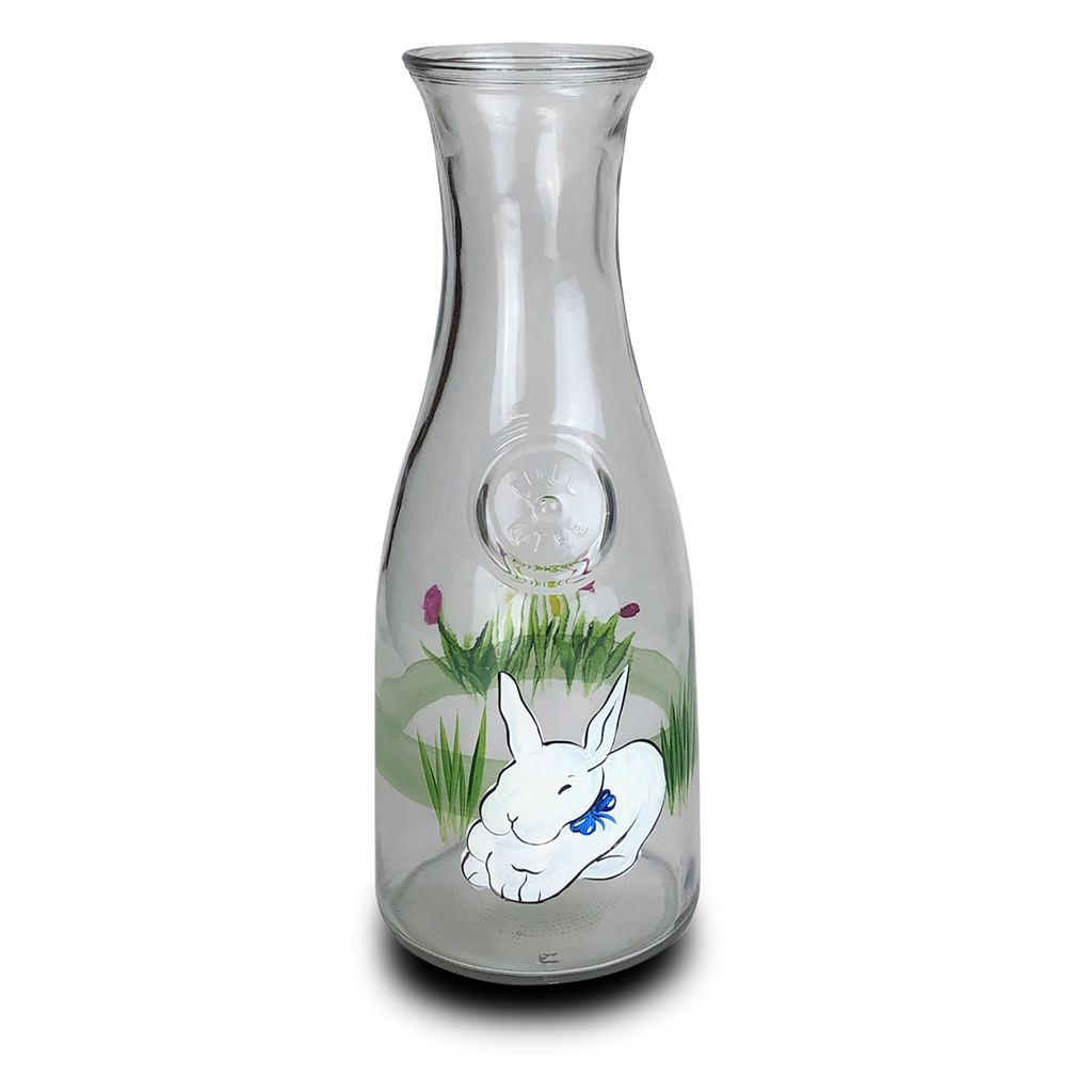 Springtime Bunny and Tulips Carafe