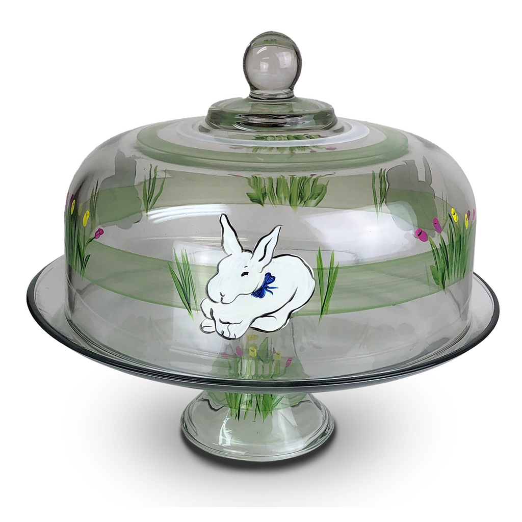 Springtime Bunny and Tulips Cake Dome - Golden Hill Studio
