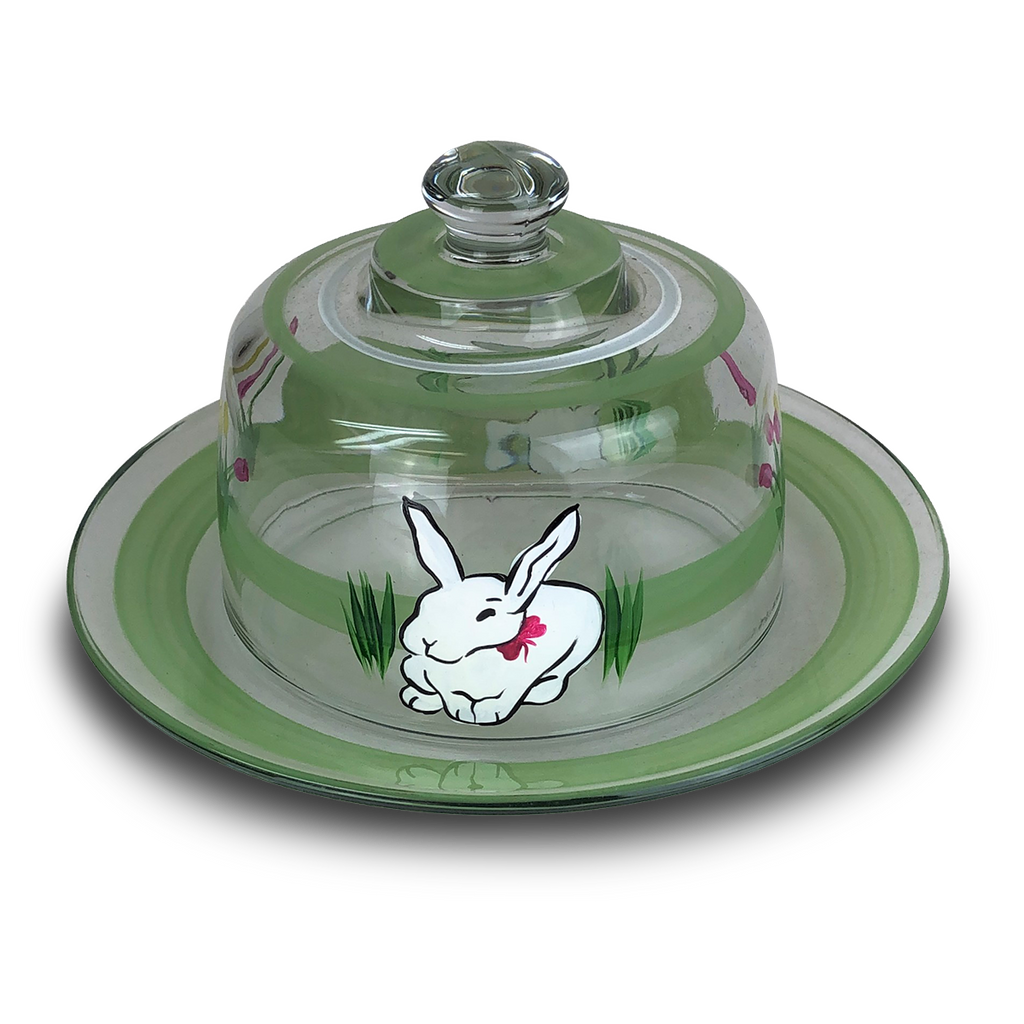 Springtime Bunny and Tulips Cheese Dome - Golden Hill Studio