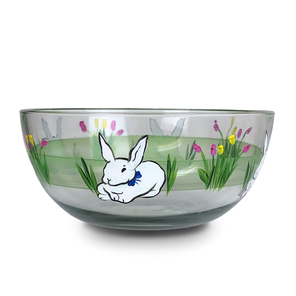 "Springtime Bunny and Tulips 11"" Bowl - Golden Hill Studio"