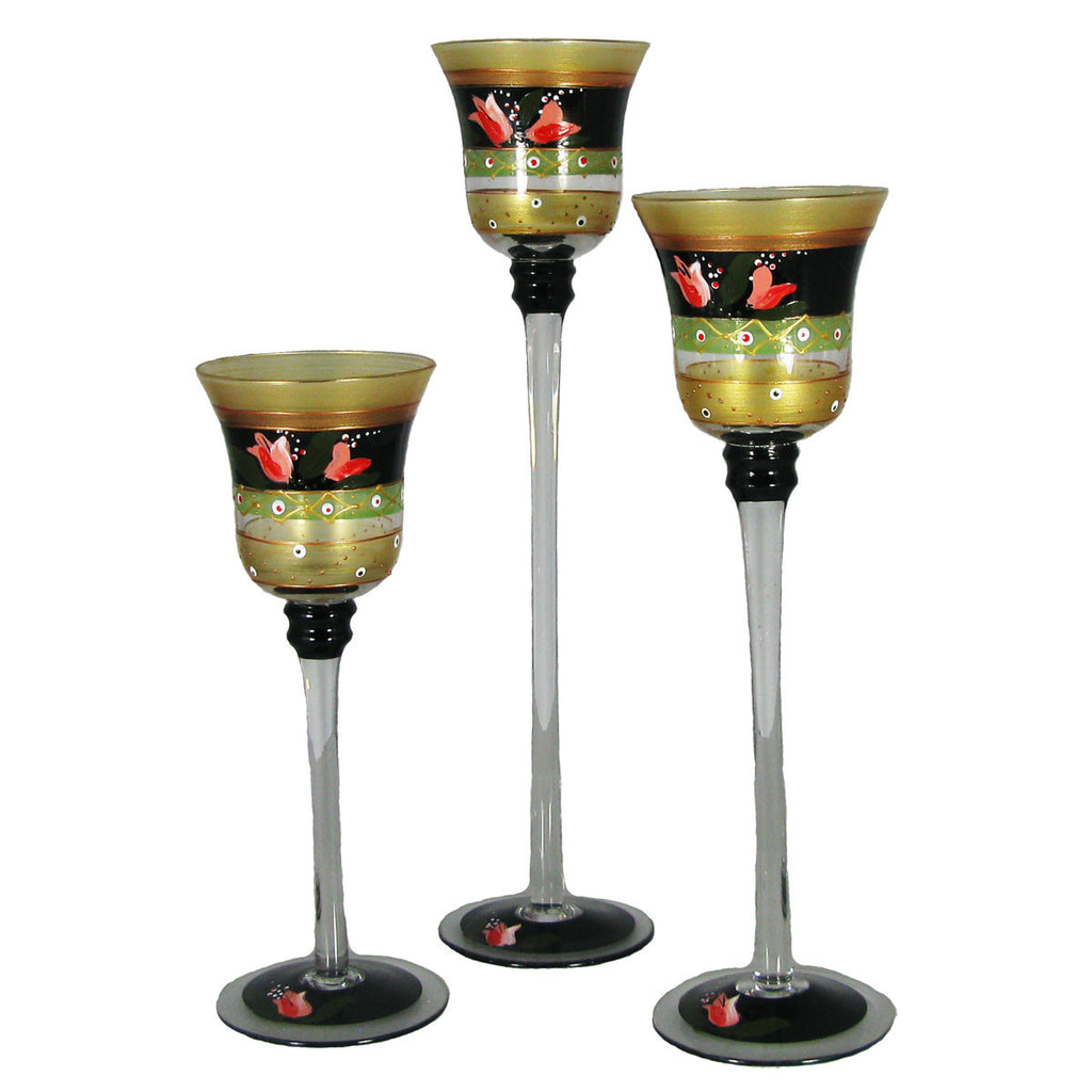 Tulip Floral Candlesticks S/3