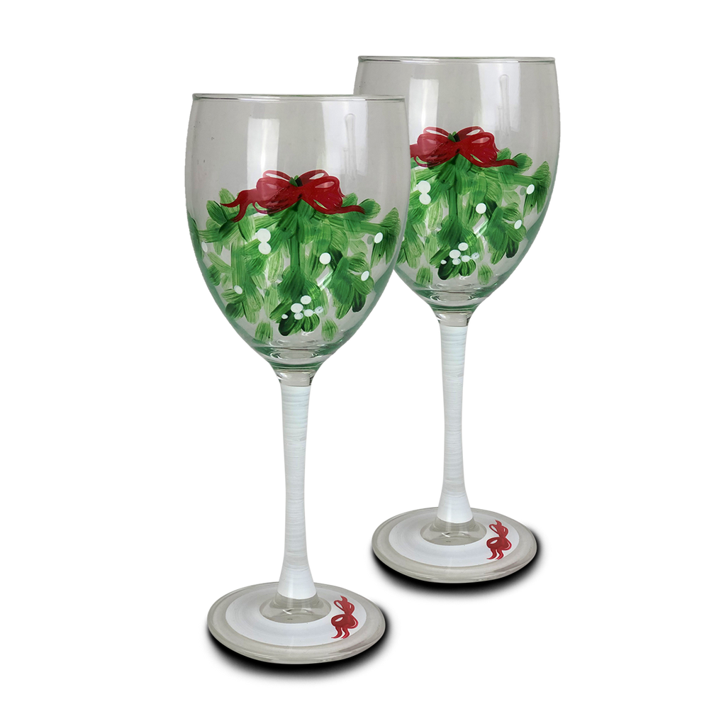 Mistletoe Love Wine S/2 - Golden Hill Studio
