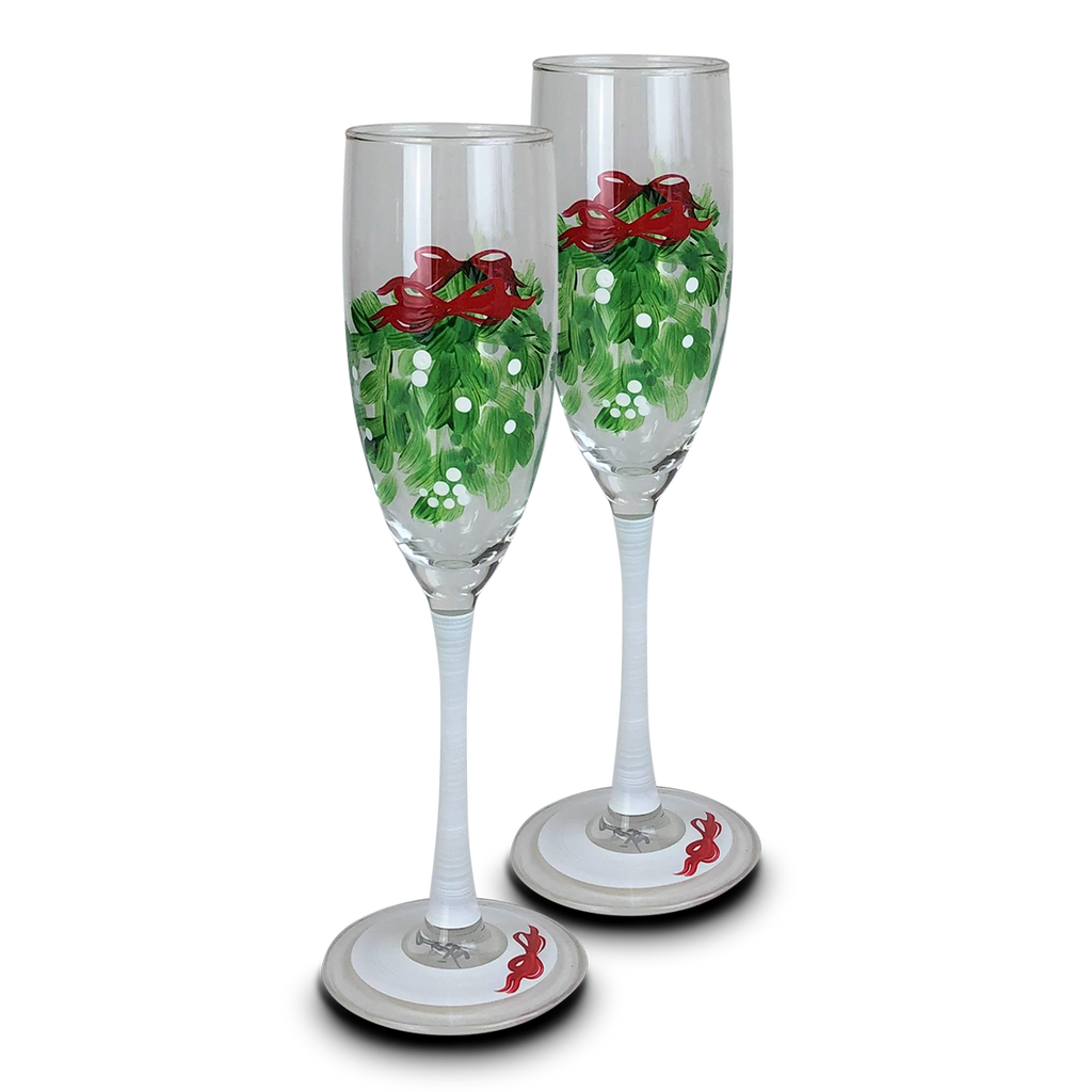 Mistletoe Love Champagne S/2 - Golden Hill Studio