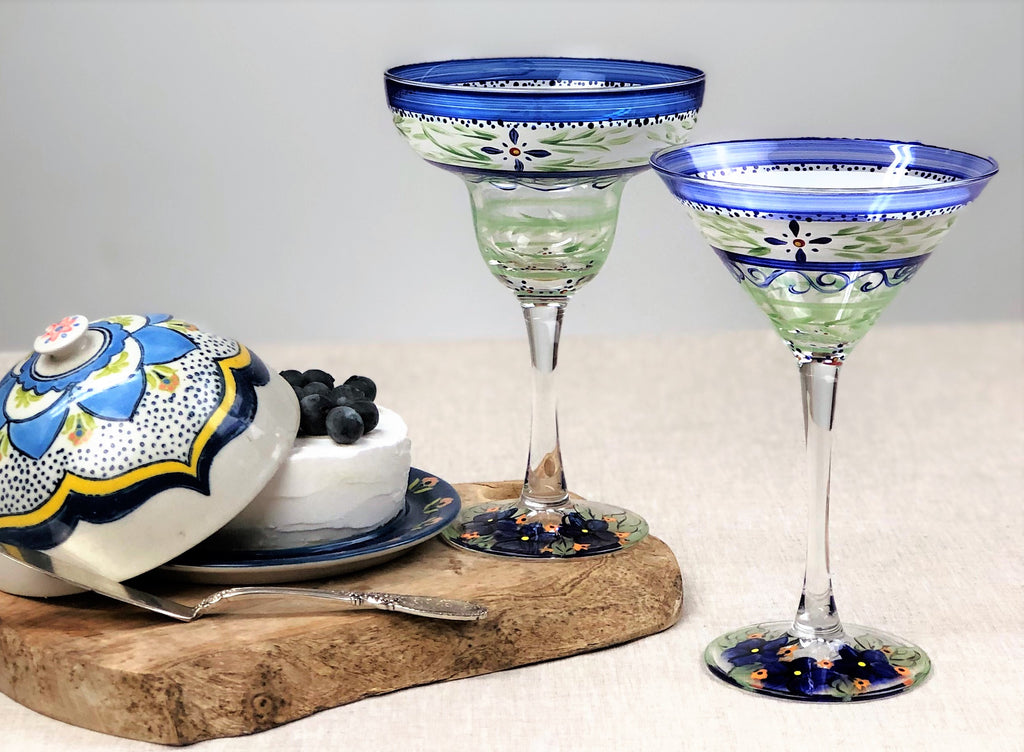Barcelona Blue Martini   Set of 2 - Golden Hill Studio