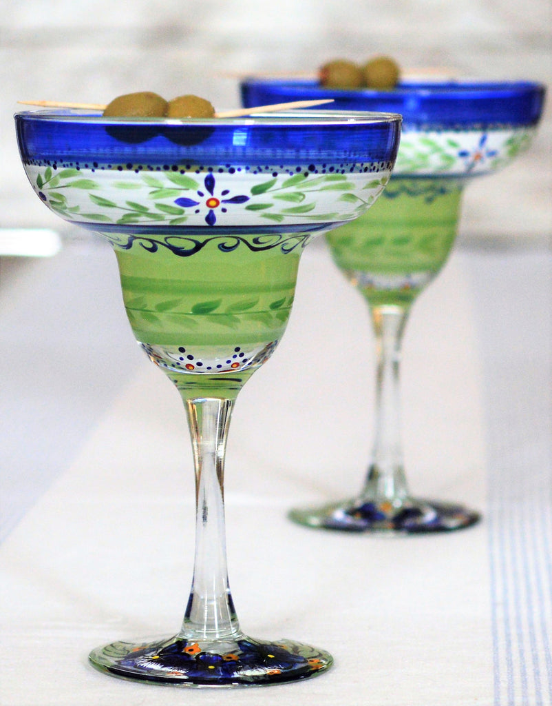 Barcelona Blue Margarita   Set of 2 - Golden Hill Studio