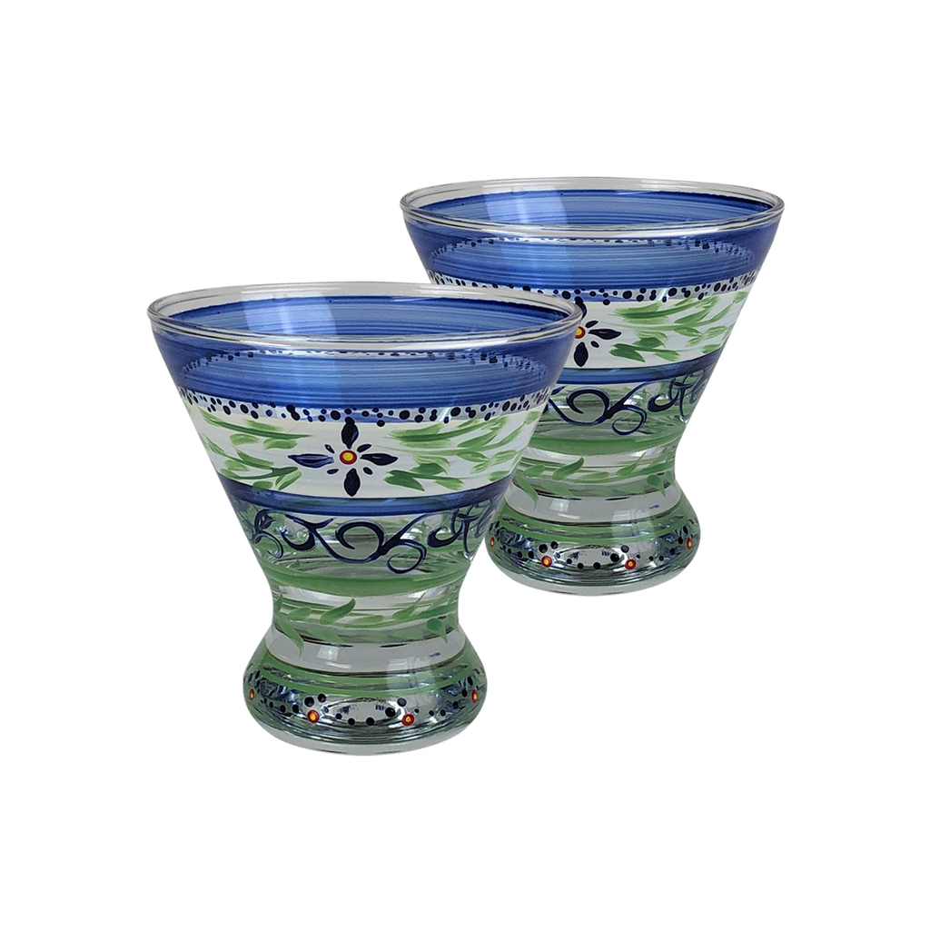 Barcelona Blue Cosmopolitan   Set of 2 - Golden Hill Studio