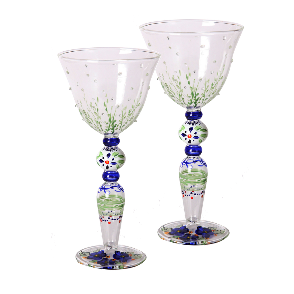 Barcelona Blue Wine with Raised Dots   Set of 2 - Golden Hill Studio