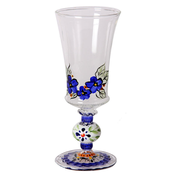 Blue Floral Goblet   Set of 2 - Golden Hill Studio