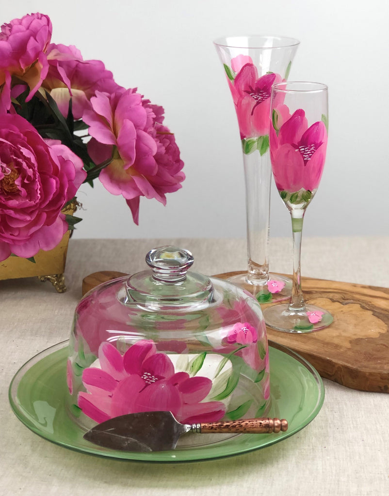 Polynesian Peony Champagne   Set of 2