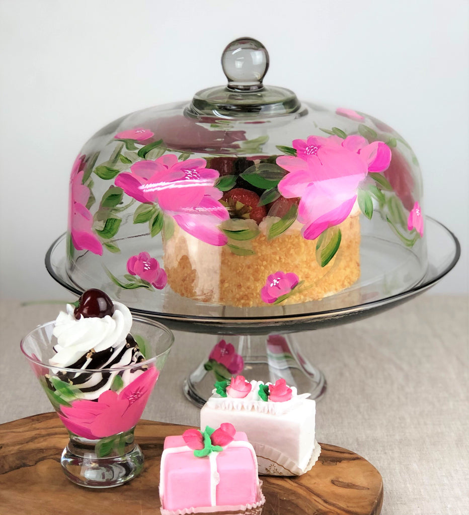 Polynesian Peony Lg Cake Dome - Golden Hill Studio