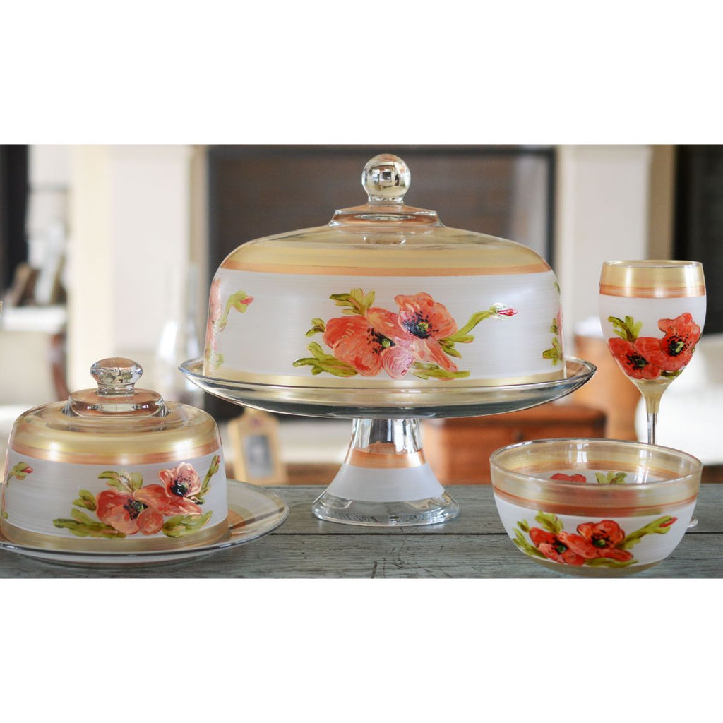 Oriental Poppy Wine   Set of 2 - Golden Hill Studio