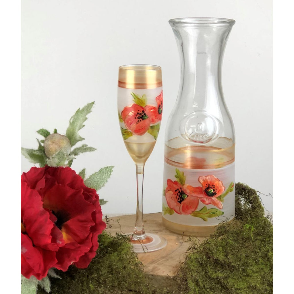 Oriental Poppy Floral Champagne   Set of 2 - Golden Hill Studio