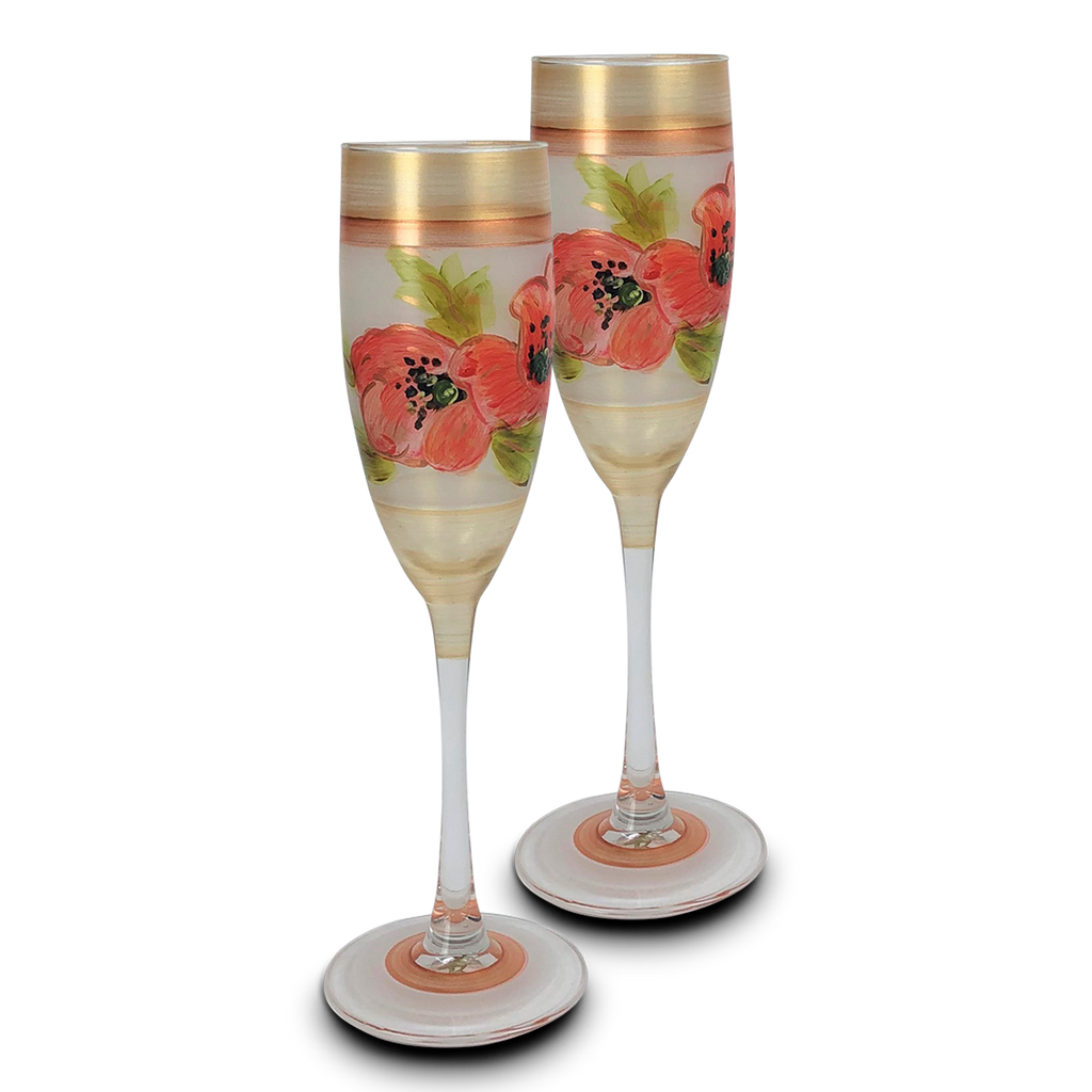 Oriental Poppy Floral Champagne   Set of 2