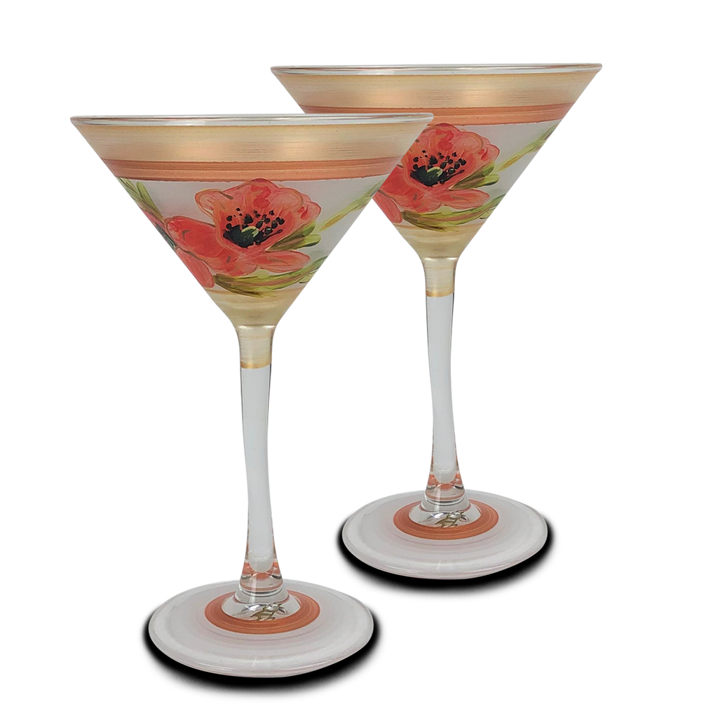 Oriental Poppy Floral Martini   Set of 2 - Golden Hill Studio