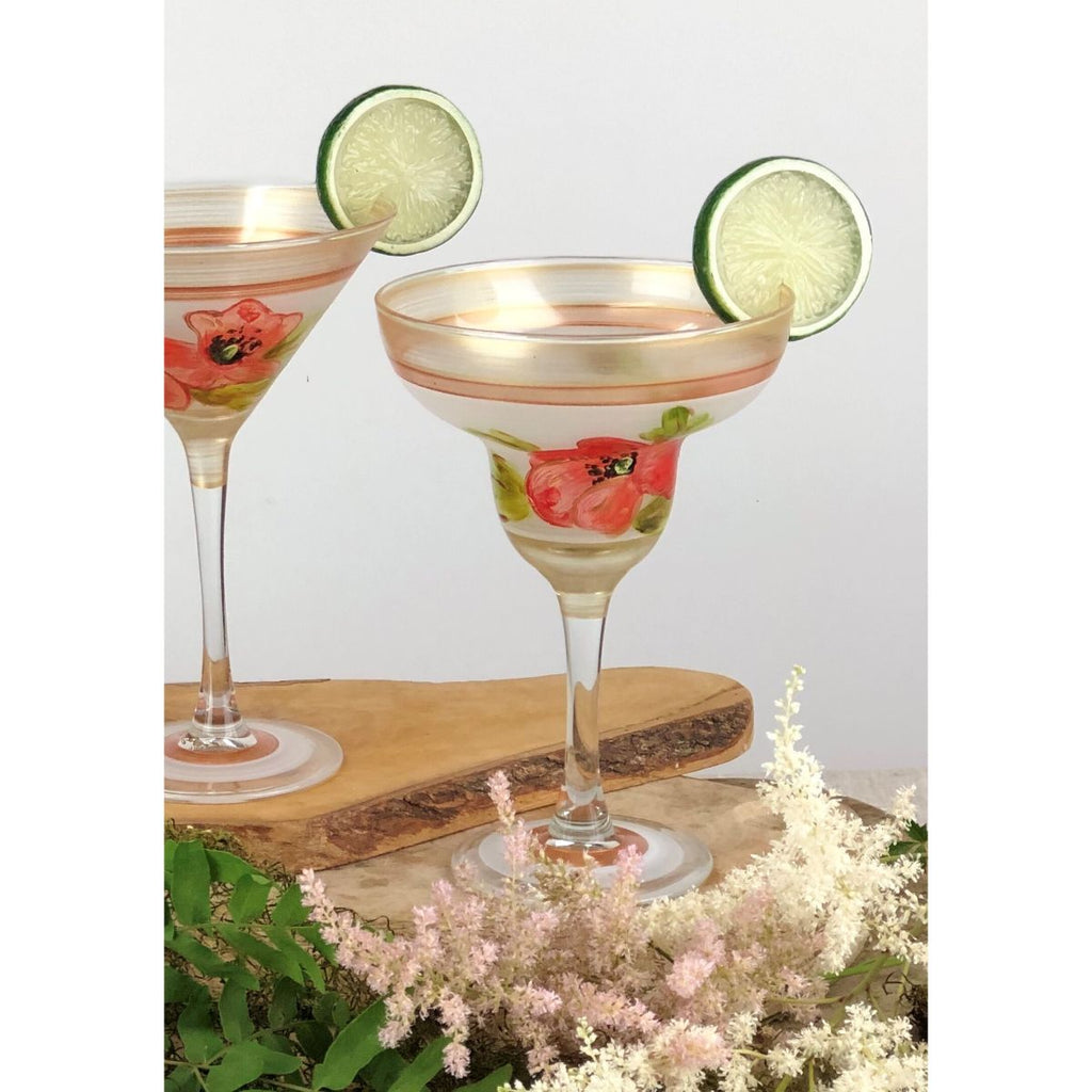 Oriental Poppy Floral Margarita   Set of 2 - Golden Hill Studio