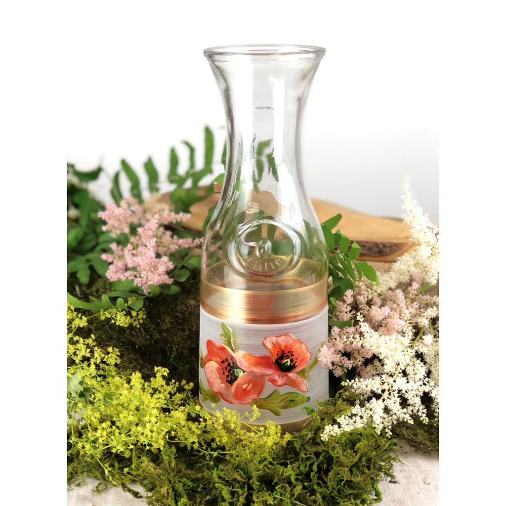 Oriental Poppy Floral Carafe - Golden Hill Studio