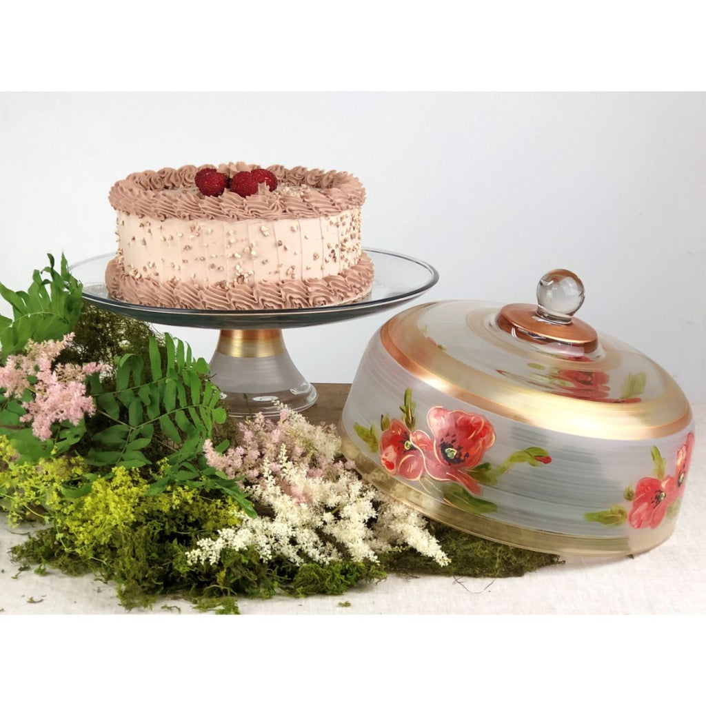 Oriental Poppy Floral Lg Cake Dome - Golden Hill Studio