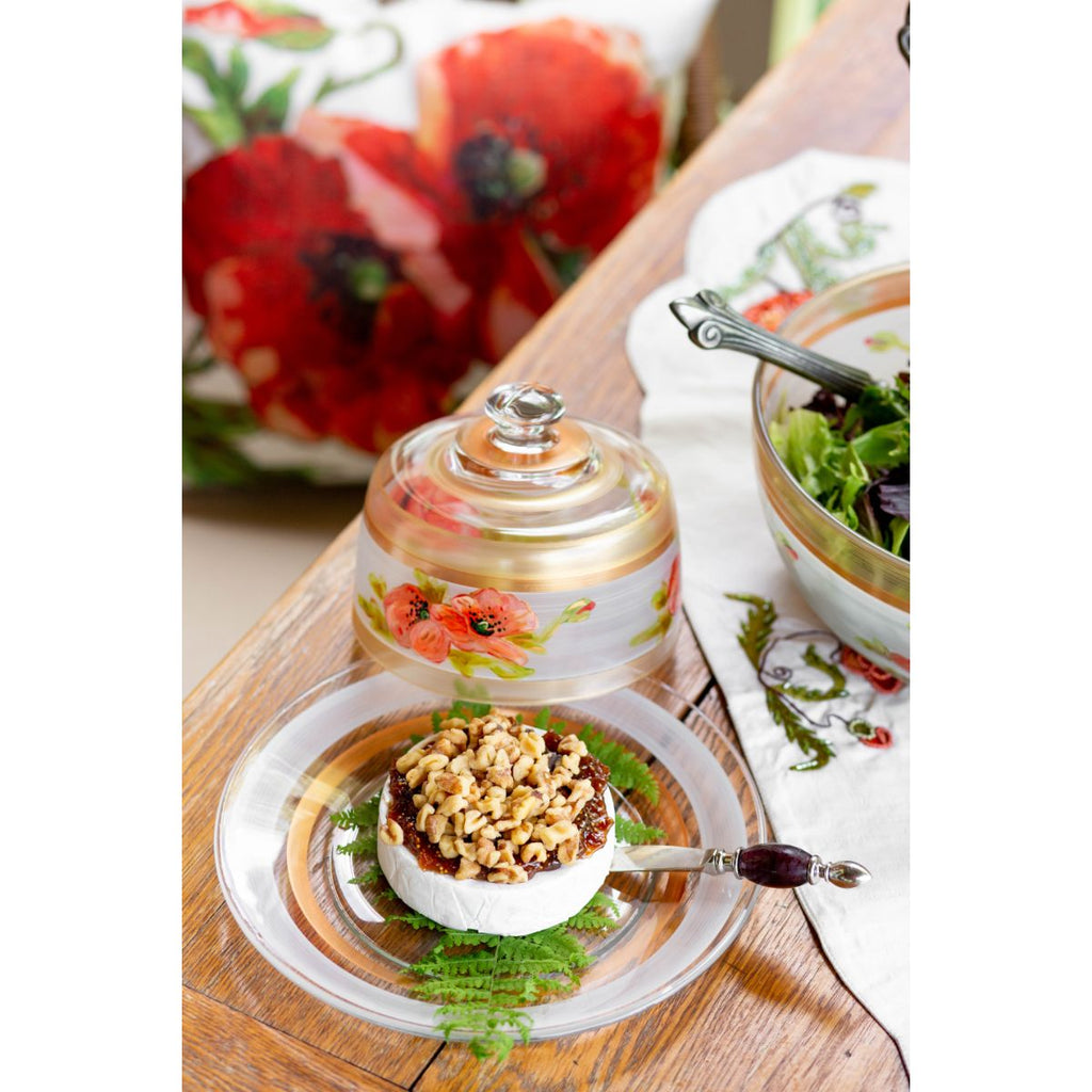 Oriental Poppy Floral Cheese Dome - Golden Hill Studio