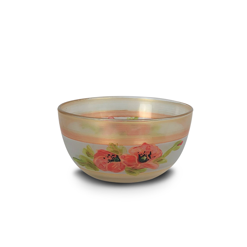 "Oriental Poppy Floral 6"" Bowl - Golden Hill Studio"
