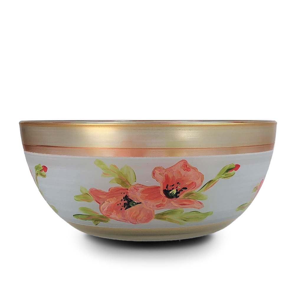 "Oriental Poppy Floral 11"" Bowl - Golden Hill Studio"