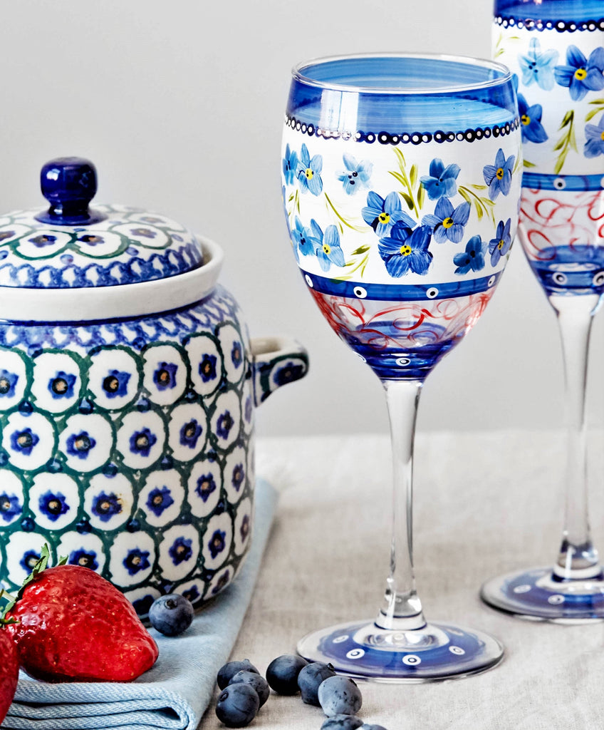 Barcelona Blue Flowers Wine   S/2 - Golden Hill Studio