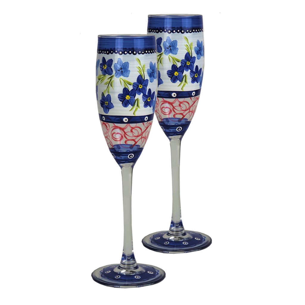Barcelona Blue Flowers Champagne - Golden Hill Studio