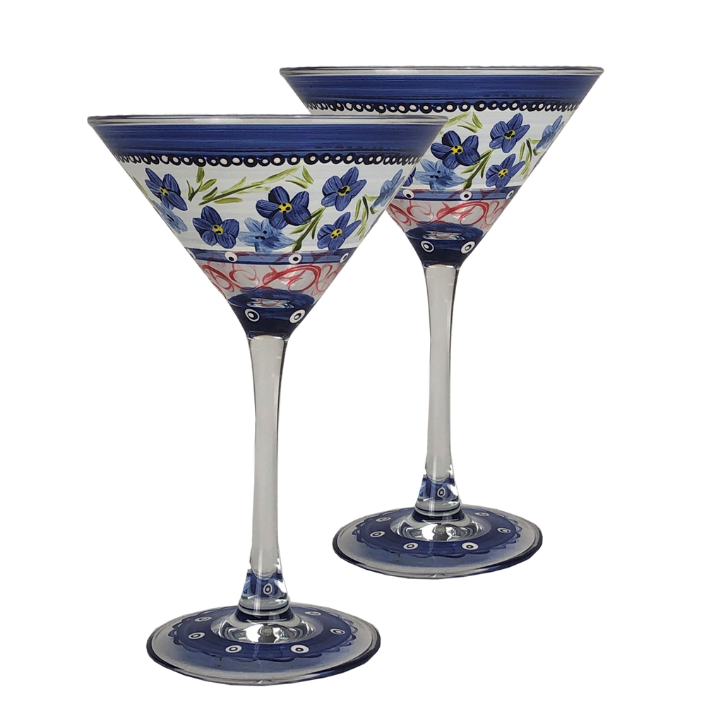 Barcelona Flowers Martini   Set of 2 - Golden Hill Studio