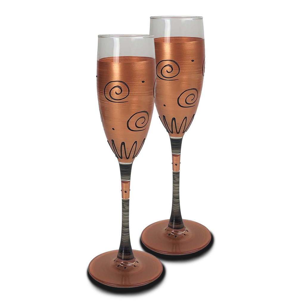 Tuscan Sunset Champagne   Set of 2 - Golden Hill Studio