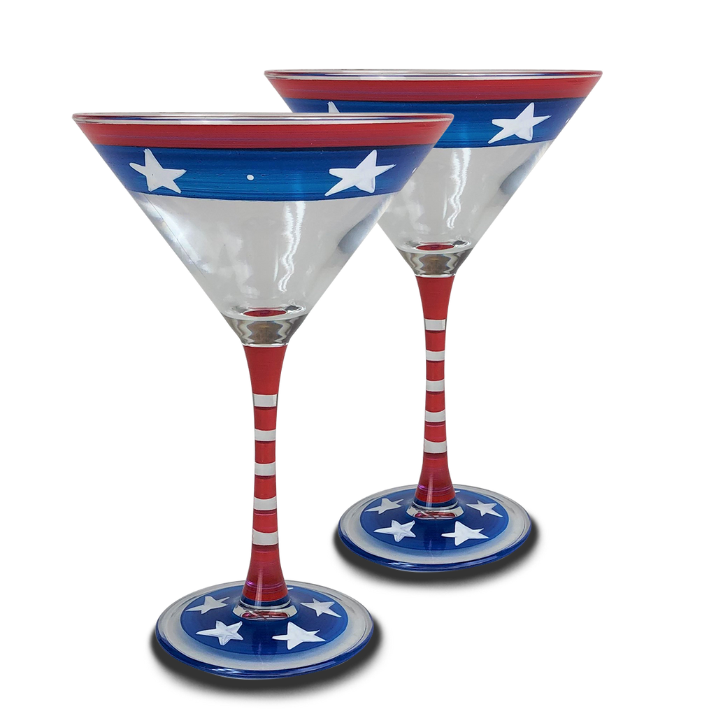 Stars & Stripes Martini Glass  S/2 - Golden Hill Studio