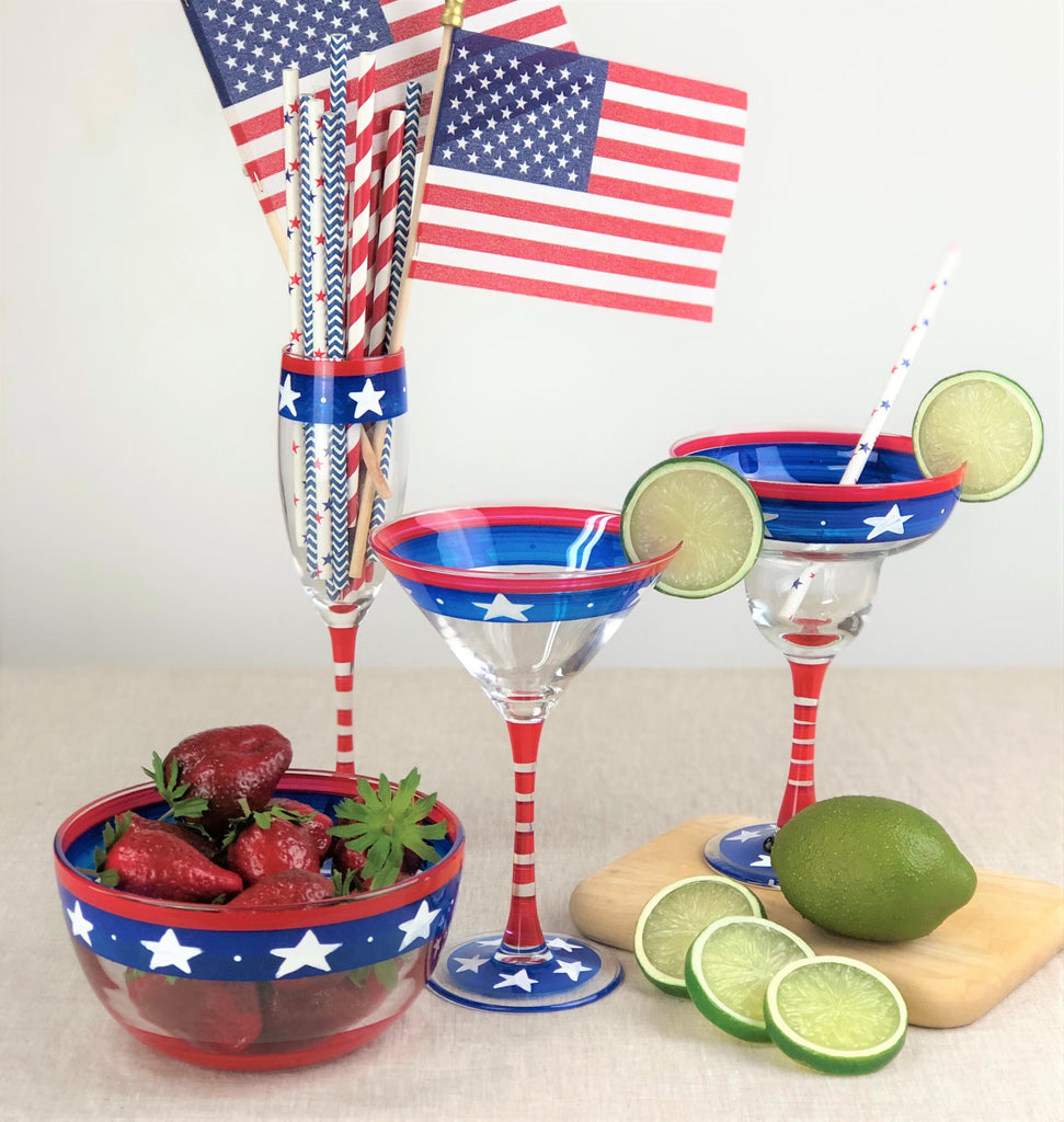 Stars & Stripes Margarita Glass S/2 - Golden Hill Studio