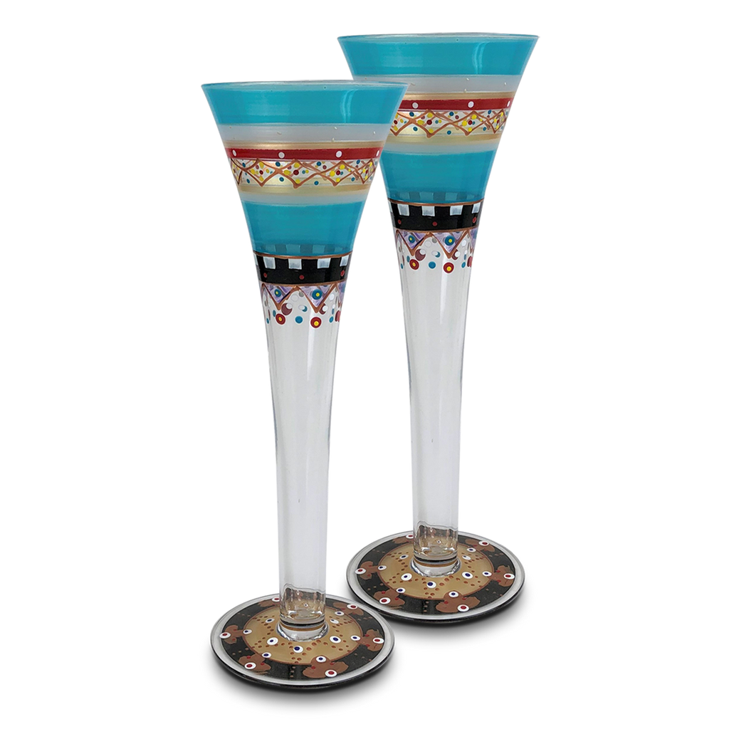 Moroccan Mosaic Carnival Hollow Flutes   S/2 - Golden Hill Studio