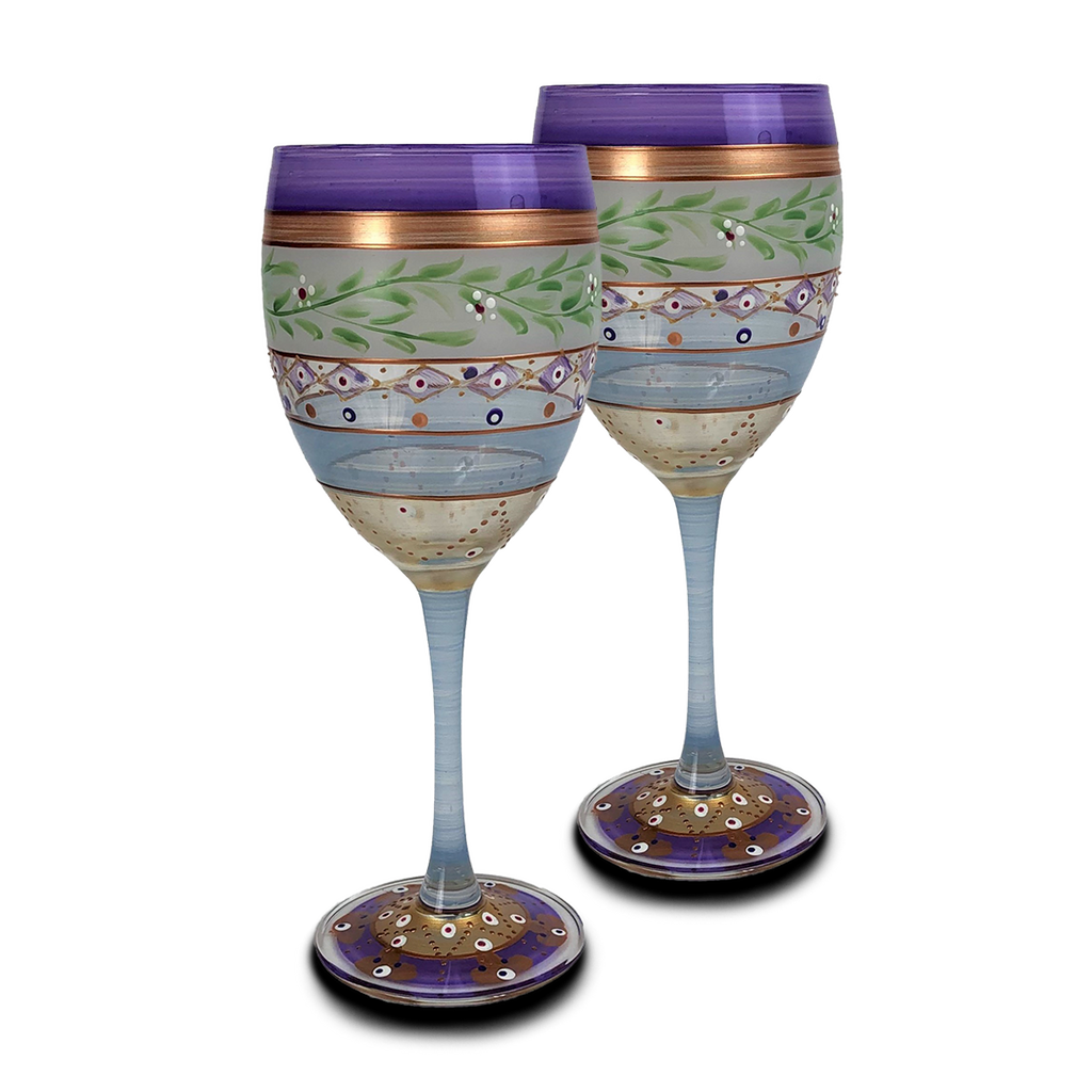 Moroccan Mosaic Lilac Wine   S/2 - Golden Hill Studio