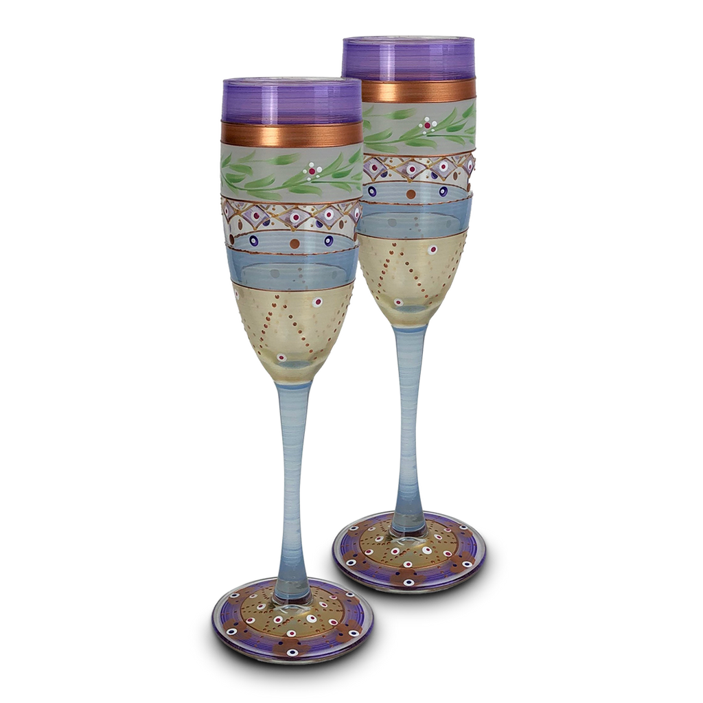 Moroccan Mosaic Lilac Champagne   S/2 - Golden Hill Studio