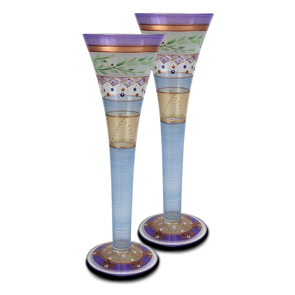 Moroccan Mosaic Lilac Hollow Flutes   S/2 - Golden Hill Studio