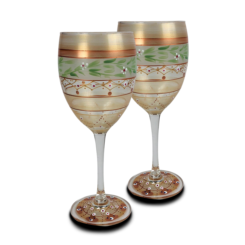 Moroccan Mosaic Gold Wine   S/2