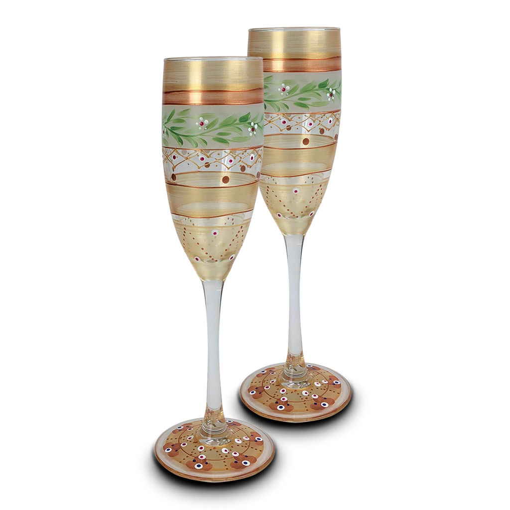 Moroccan Mosaic Gold Champagne   S/2