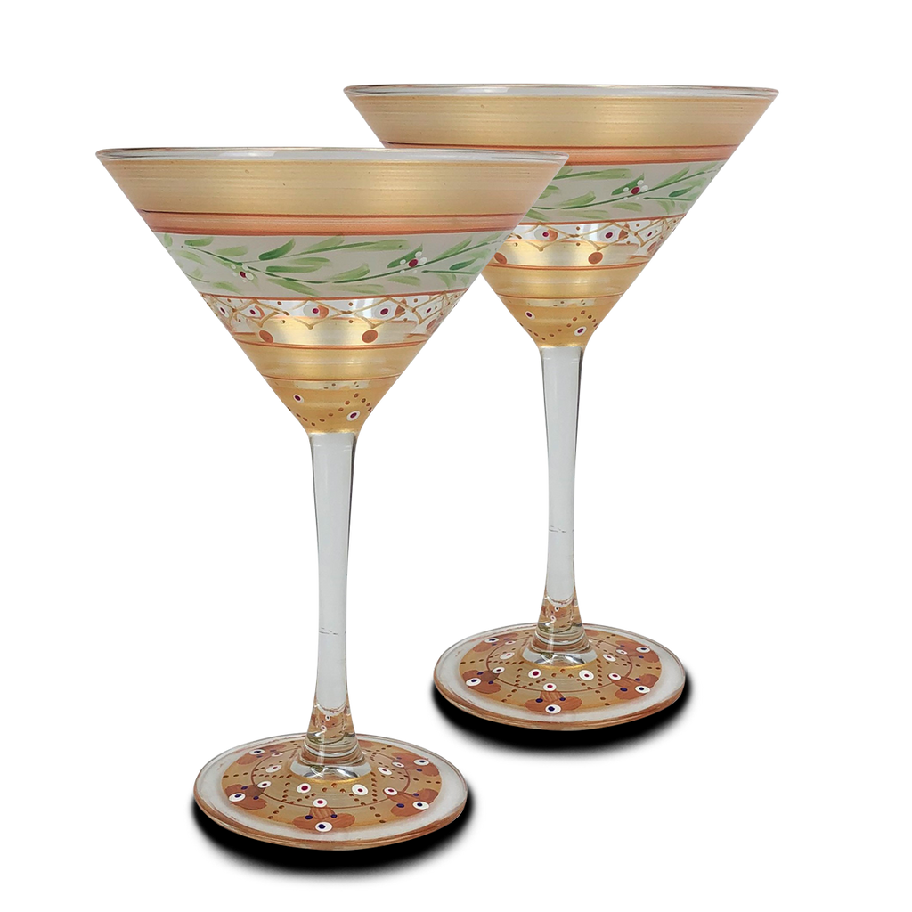Moroccan Mosaic Gold Martini   S/2 - Golden Hill Studio