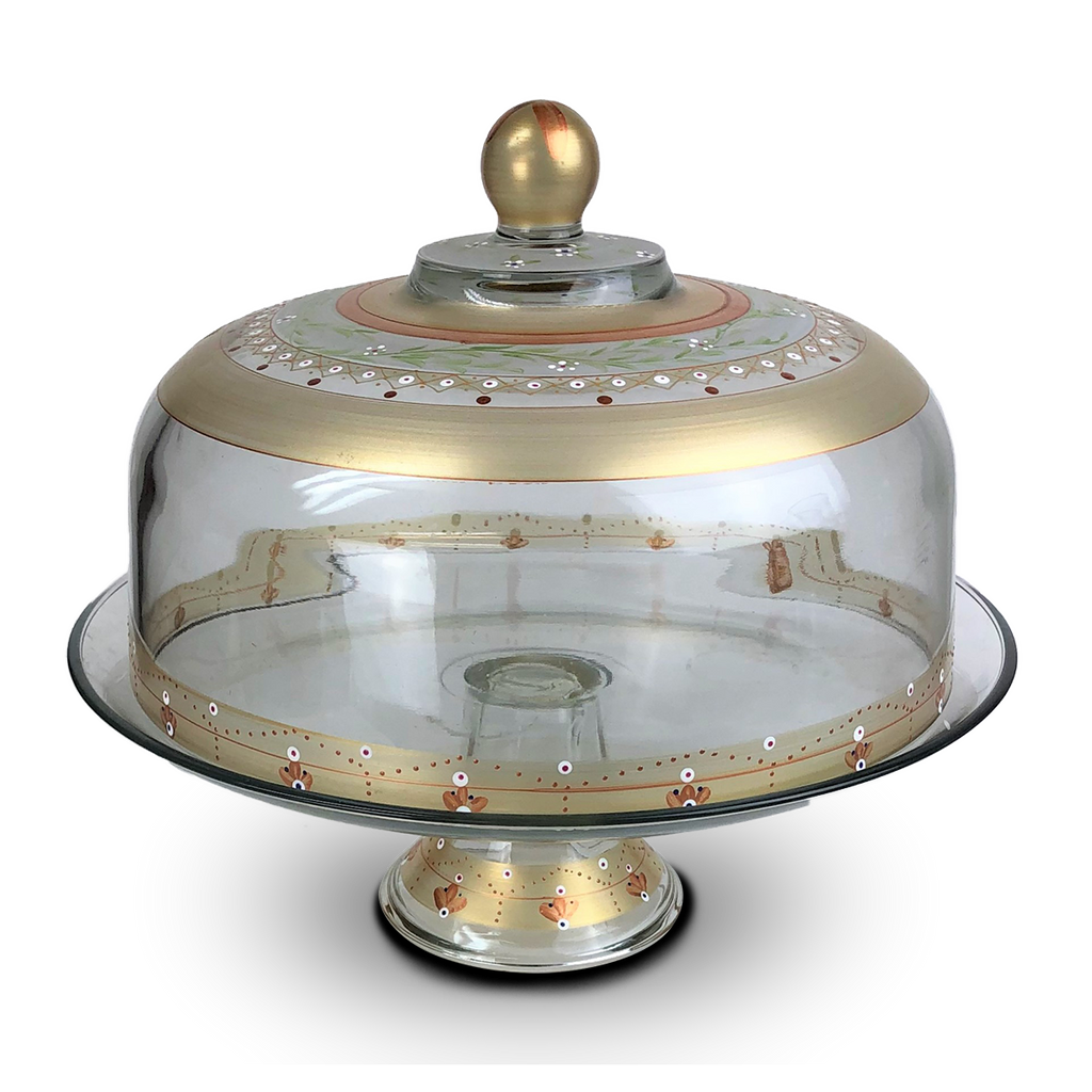 Moroccan Mosaic Gold Lg Cake Dome - Golden Hill Studio