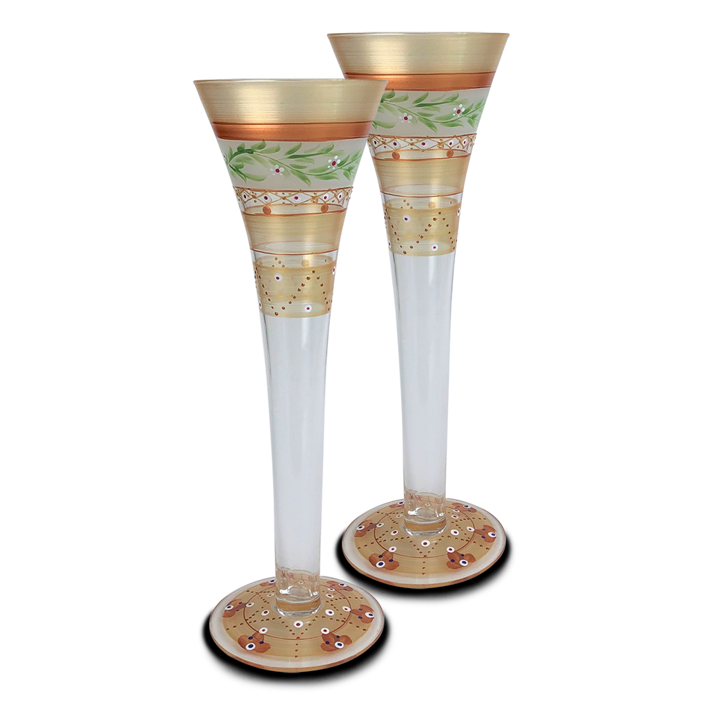 Moroccan Mosaic Gold Hollow Flutes   S/2 - Golden Hill Studio