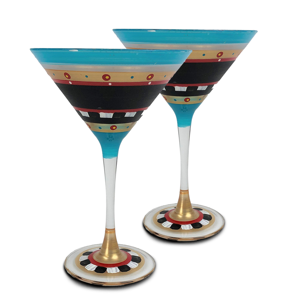 Moroccan Mosaic Chalk Martini   Set/2 - Golden Hill Studio