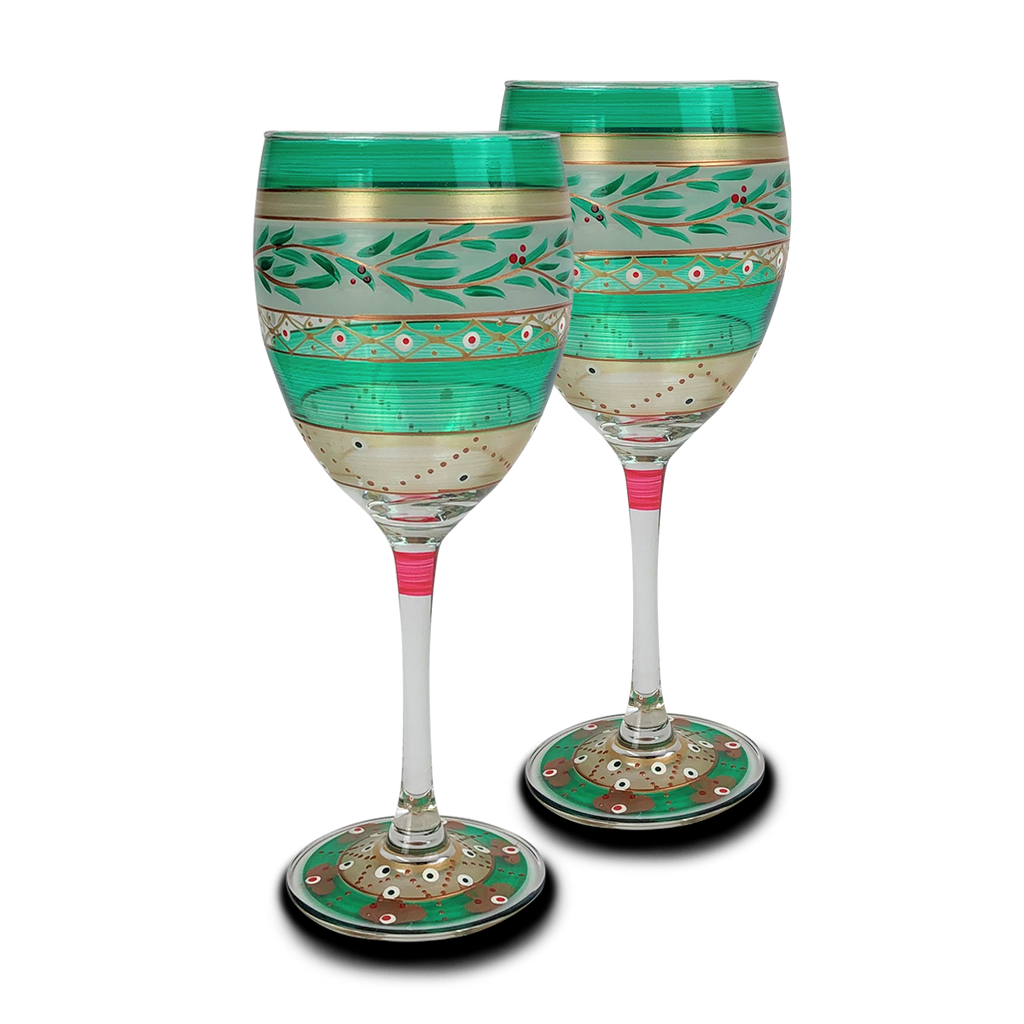 Moroccan Mosaic Forest Wine S/2 - Golden Hill Studio